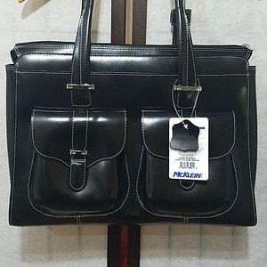 Mcklein leather black ladies laptop briefcase nwt